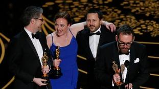 (L-R): Mark Ardington, Sara Bennett, Paul Norris, and Andrew Whithurst pick up their award for Visual Effects