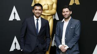 Director Gabriel Osorio (L) and producer Pato Escala took home the award