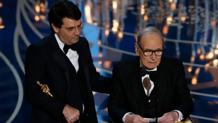 Ennio Morricone accepts his Best Orginal Score award