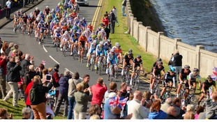 Cyclists taking part in Tour of Britain