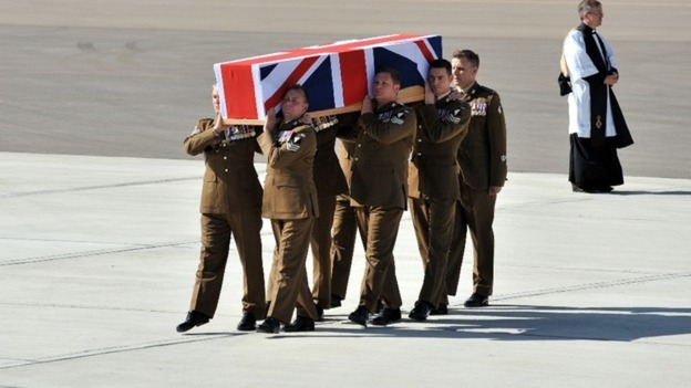Sergeant Lee Paul Davidson is repatriated at RAF Brize Norton in Oxfordshire.