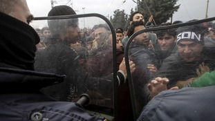 The crush began after rumours circulated the Macedonian authorities had opened the border
