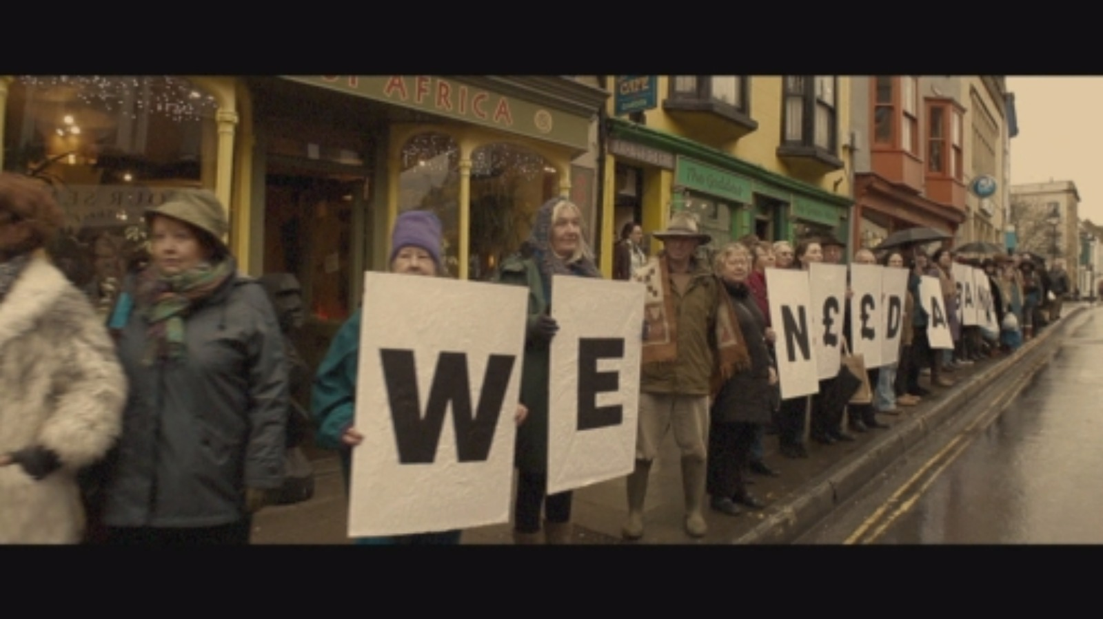 The world's longest bank queue? Protestors in Glastonbury fight to keep a local branch