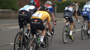 Tour of Britain coming through Abbey Hulton, Staffordshire