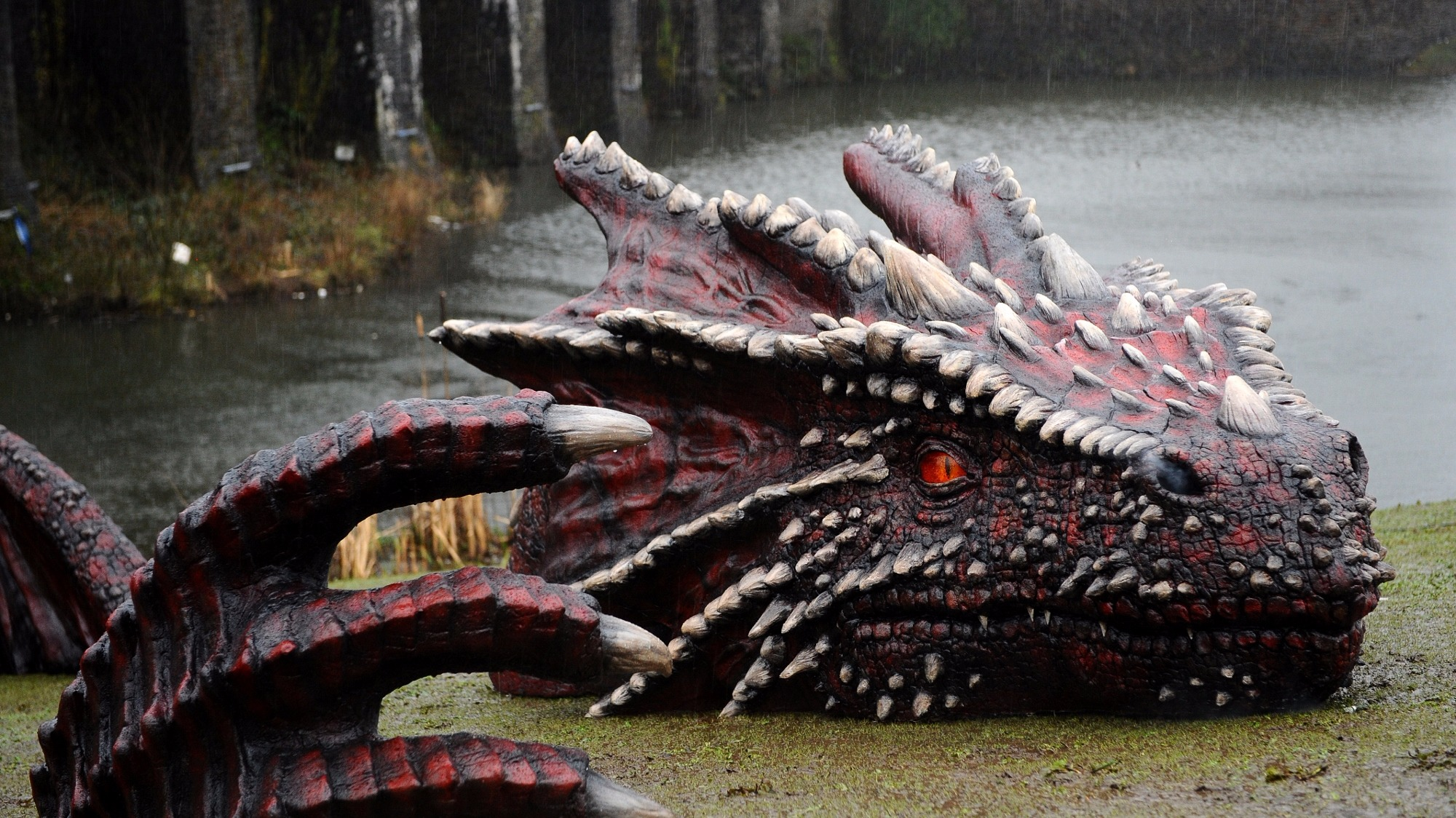 Caerphilly Castle under siege by Welsh dragon | Wales ...