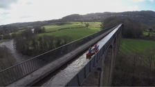 Canoeing over the Pontcysyllte aqueduct.