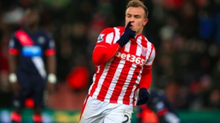 Stoke City's Xherdan Shaqiri celebrates scoring his side's only goal