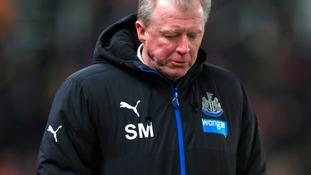 Newcastle United manager Steve McClaren walks off the pitch dejected after the final whistle at tonight's match at the Britannia Stadium