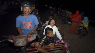 Many Padang residents fled to higher ground in fear of the potential for a tsunami