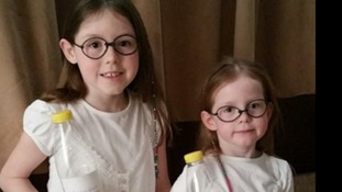 Abigail Emmerson, 8, and sister Polly, 5, dressed as Sophie from the BFG - Sunderland