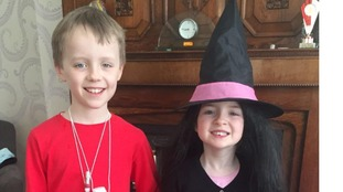 Tom Roberts (8) as George from George's Marvellous Medicine & Lily Roberts (5) as a witch from The Witches
