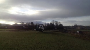 The air ambulance arrives at the scene.