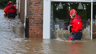 Flooded properties in Tower Street, York, in December 2015