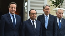 Prime Minister David Cameron and Foreign Secretary Philip Hammond posed with their French counterparts Francois Hollande and Jean-Marc Ayrault at the 34th Franco-British summit in Amiens.