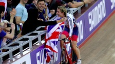 Trott celebrates after winning Gold