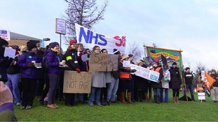 Junior doctors striking last month.