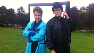 Sean Hales & Rhys Marshall prepare for the Grease drive-in movie night