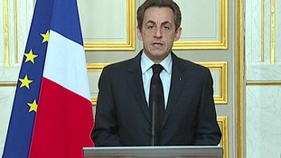 France's President Nicolas Sarkozy is seen making a statement on the death of Merah