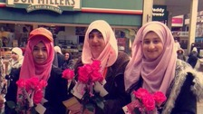 The women handed out 500 roses in Luton