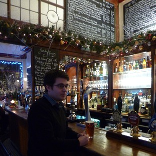 Sam Cullen enjoying a pint in the Atlas in West Brompton.