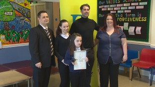 Pontypridd schoolgirl with cerebral palsy receives prestigious award for her kindness