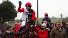 Victoria Pendleton celebrates her win at Wincanton.