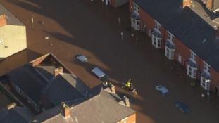 A Carlisle street submerged by the Storm Desmond floods
