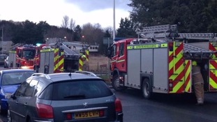 Fire crews at the scene of the Galashiels blaze