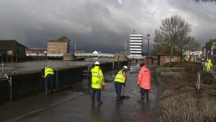 The water leak closed part of the Quay to traffic this morning.
