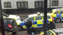Police shut the road in Westerham