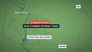 The man was stabbed in Leighton Buzzard.