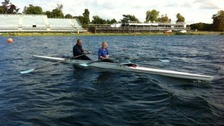 Sir Steve Redgrave rowing with London Tonight reporter Emma Walden.