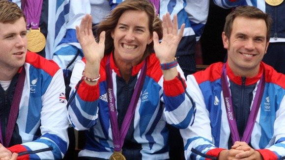 Katherine Grainger joins other Olympians and Paralympic team members, for a group picture