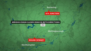 The A43 is closed between Northampton and Kettering.