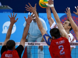 Alexander Markin, seen here on the left, was part of the Russian men's team that won the bronze medal at the European Games in Baku last year.