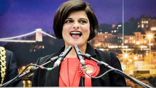 Labour MP Thangam Debbonaire giving winning speech after the results are given in the Bristol West General Election 2015