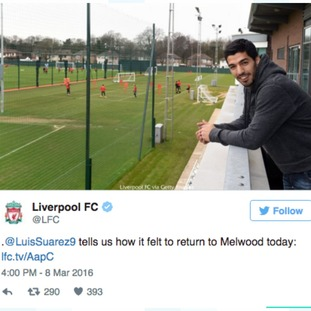 Suarez returns to Melwood