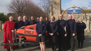 The Burnham-on-Crouch lifeboat crew at a thanksgiving service.