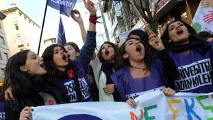 Demonstrators in Kolej Square, Ankara, Turkey