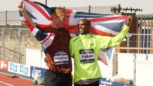 Olympic gold medallists Greg Rutherford (left) and Mo Farah at a photo call ahead of the event in Newcastle.