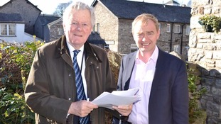 Cumbria Police and Crime Commissioner Richard Rhodes and South Lakes MP Tim Farron signing the letter