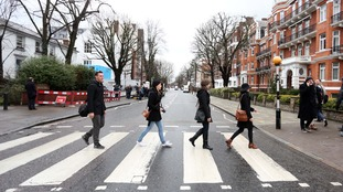 Abbey Road on Wednesday morning after it was announced that Sir George Martin has died aged 90
