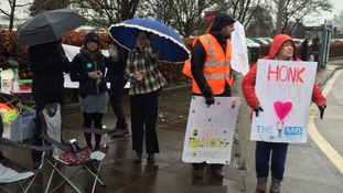 The picket line at Ipswich Hospital.