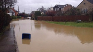 Flooding in north Northamptonshire village, Clipston.
