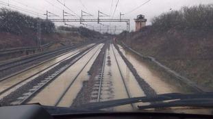 Railway lines were submerged