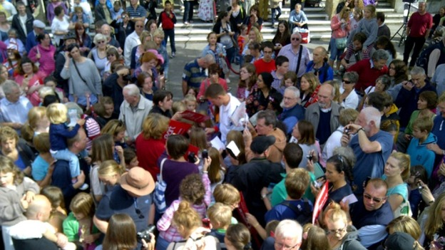 Hundreds came out to greet the Olympic star
