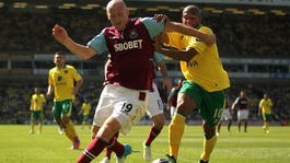 West Ham United's James Collins (left) and Norwich City's Simeon Jackson (right) battle for the ball