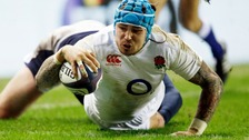 Jack Nowell scoring in Edinburgh in England's match against Scotland.