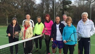 pensioners on tennis court