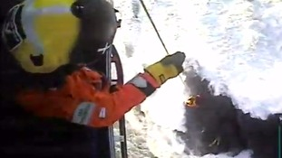Couple winched to safety by the coastguard after getting cut off by the tide